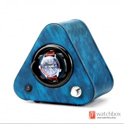 Top quality leather triangle single small mini watch winder auto rotate watch display shake box
