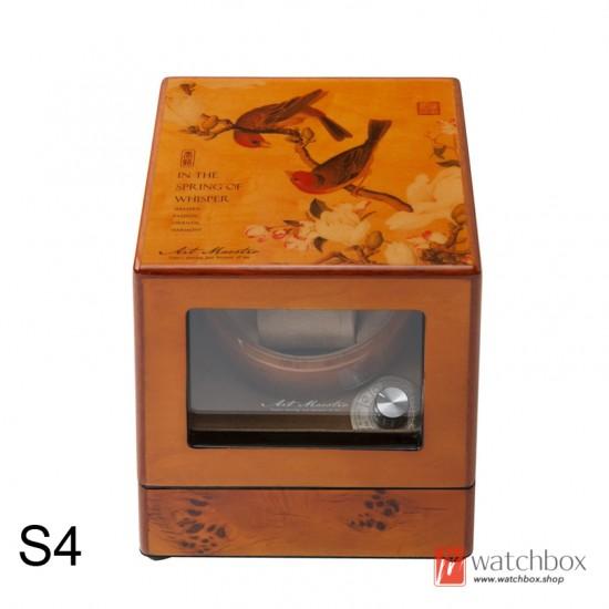 vintage painting solid wood watch winder shake watch storage display box home decoration 1+0