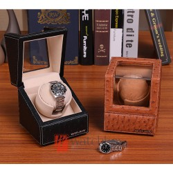 Top quality leather premium auto rotate mechanical single watch winder storage display box 1+0