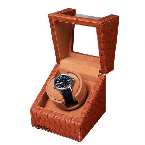 Top quality leather premium auto rotate mechanical single watch winder storage display box 1+0